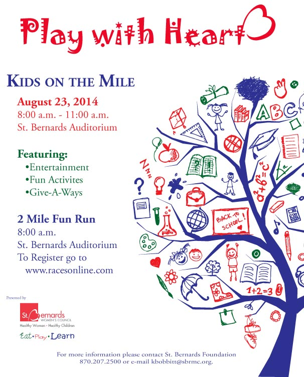 The Children's Clinic is sponsoring Kids on the Mile, August 23, 2014 from 8am to 11am at the St. Bernards Auditorium. The event will have entertainment, fun activities, and give-a-ways. […]