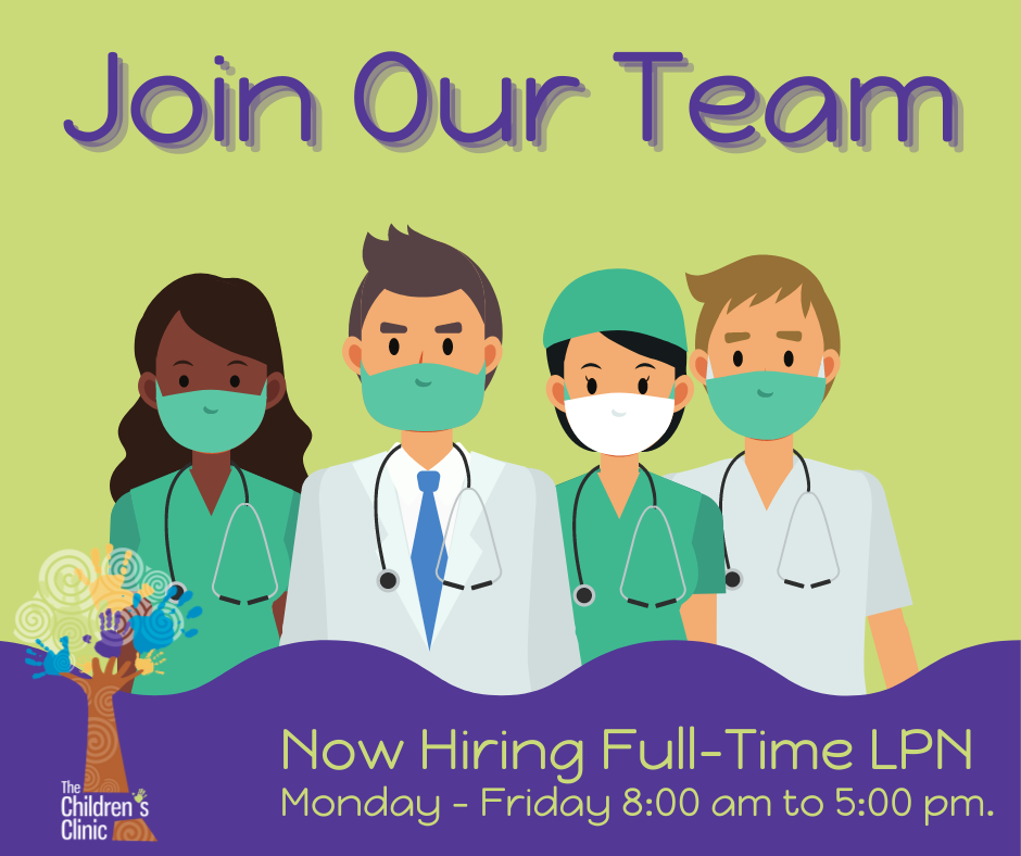 The Children's Clinic is currently has a full-time LPN position open for Monday – Friday. Please send resumes to: cmilburn@jbrkids.com.